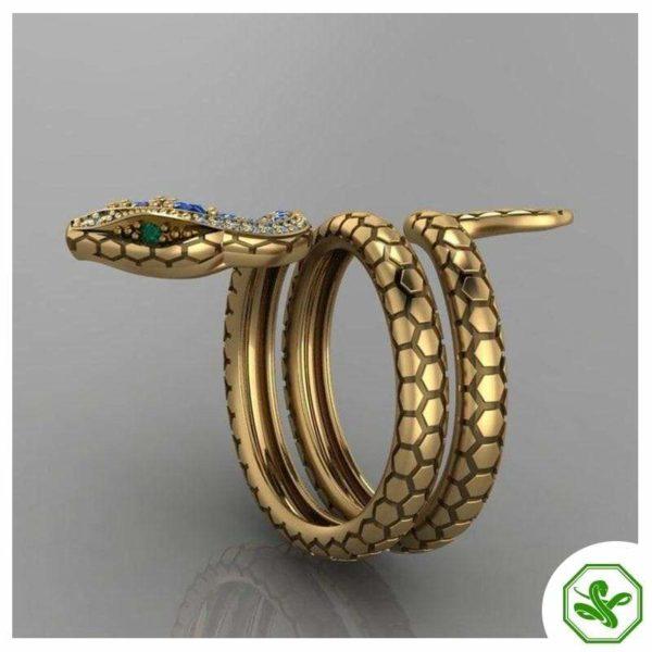Snake Ring Emerald Eyes 2