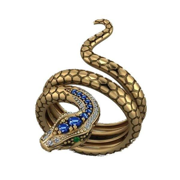Snake Ring Emerald Eyes 1