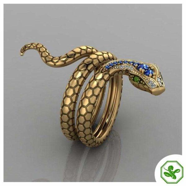 Snake Ring Emerald Eyes 5