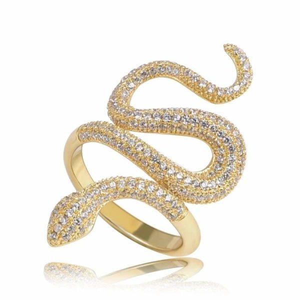 Snake Ring Gold Diamond 1