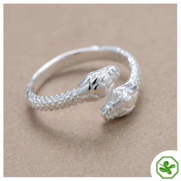 siamese silver snake ring