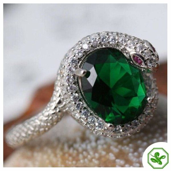 snake-ring-with-green-stone 2