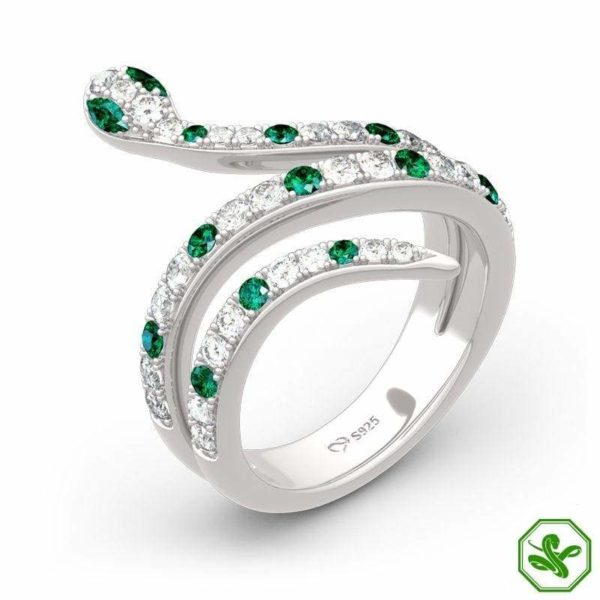 snake ring with green