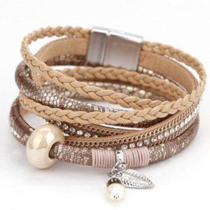 brown snake skin leather bracelet