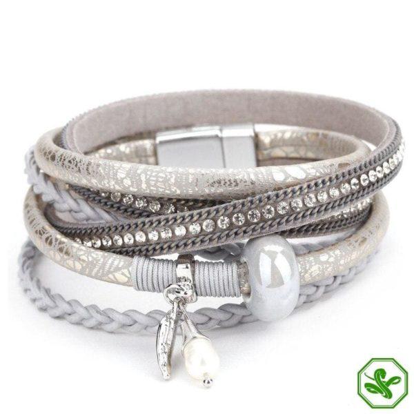 gray snake skin leather bracelet