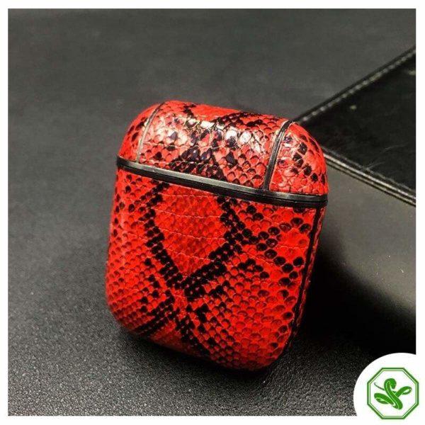 Snakeskin Airpod Case red