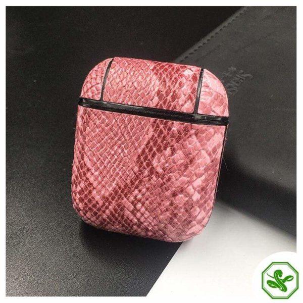 Snakeskin Airpod Case Pink