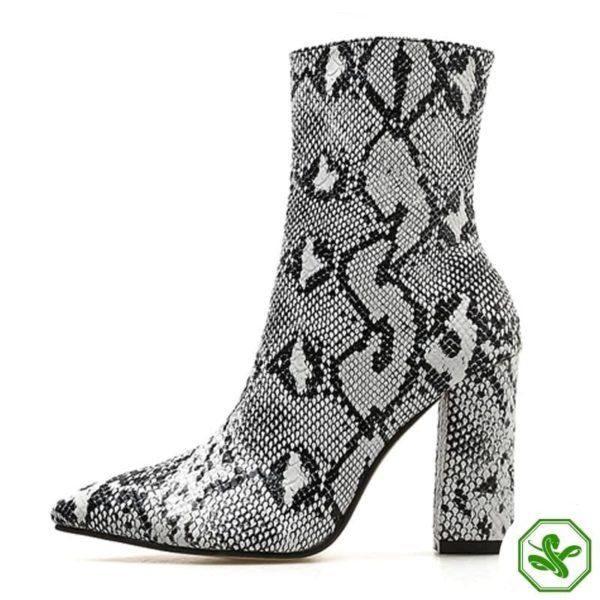 snakeskin thigh high boots