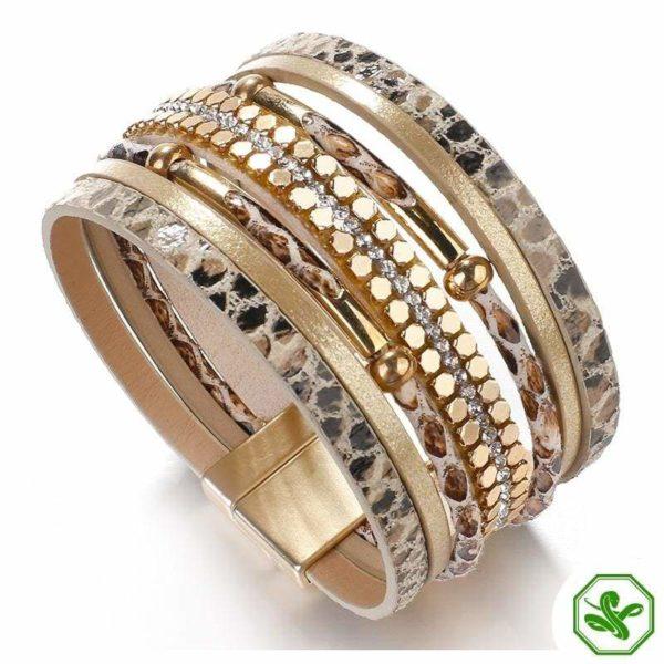 khaki snakeskin bracelet