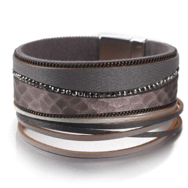 Gray leather snake bracelet