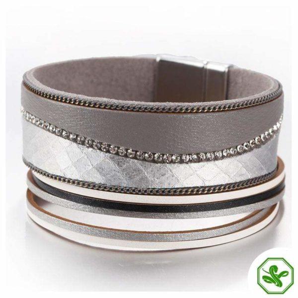 Silver leather snake bracelet