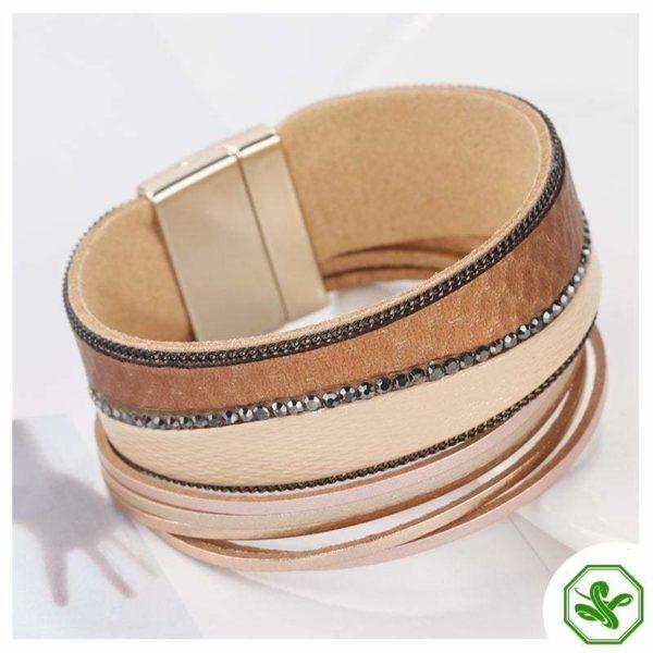 Brown leather snake bracelet