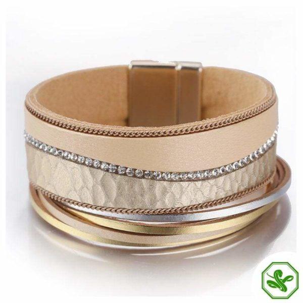 Gold  leather snake bracelet
