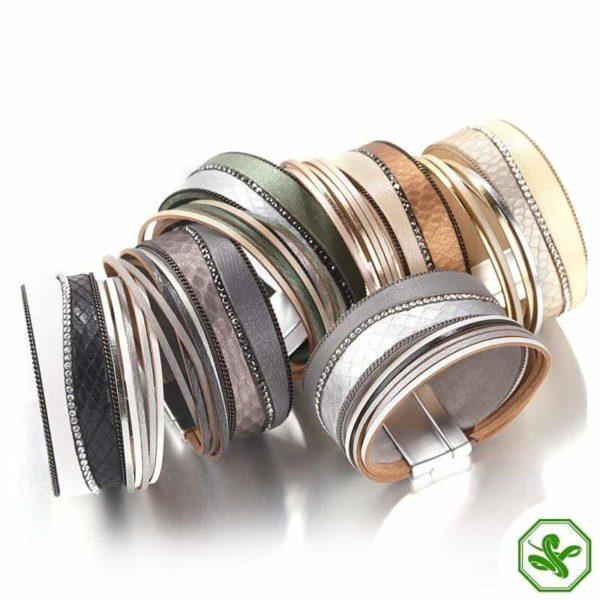 multicolored leather snake bracelets