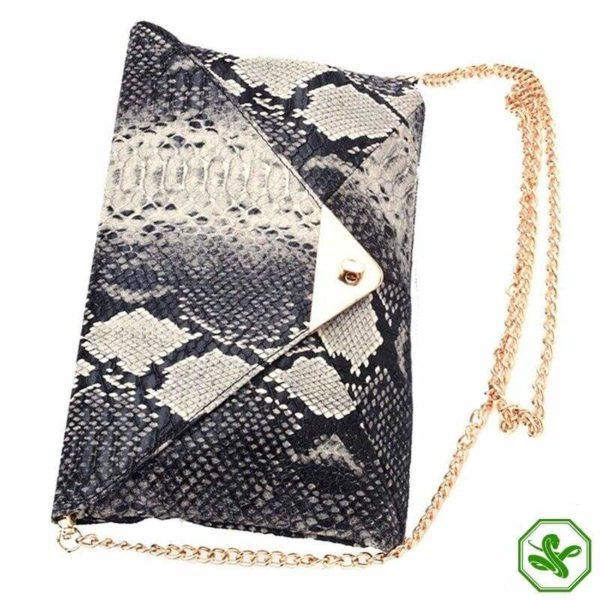snakeskin clutch bag side