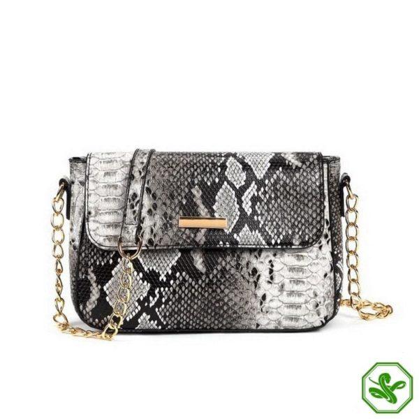 Snakeskin Crossbody Bag Black