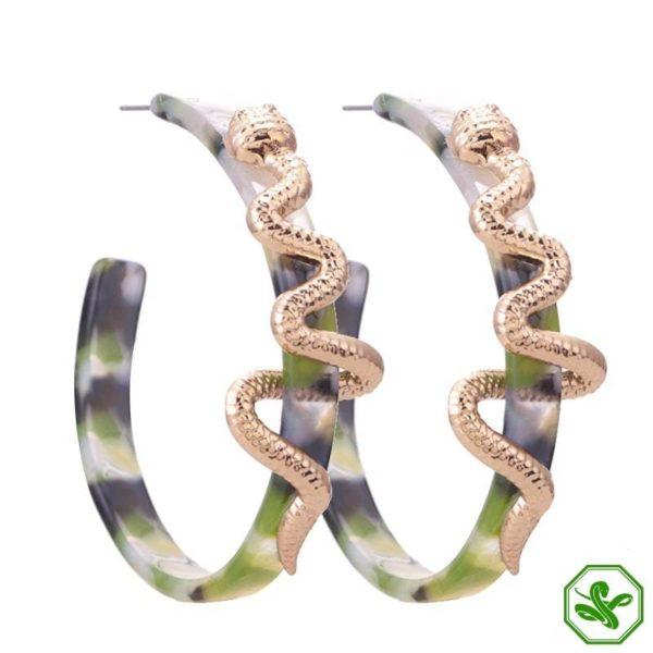 green snakeskin earrings