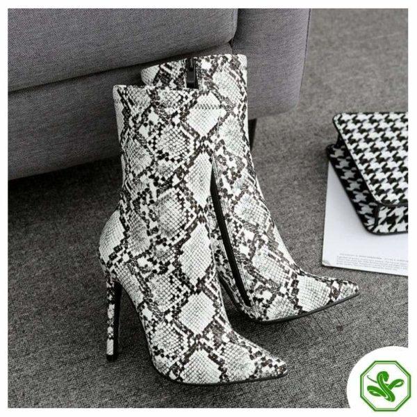 woman snakeskin heel boots