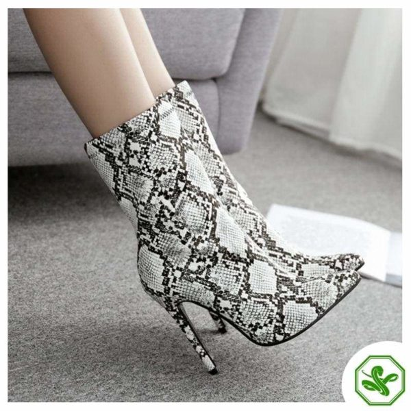 snakeskin heel boots women