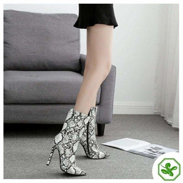 mid-high snakeskin heel boots