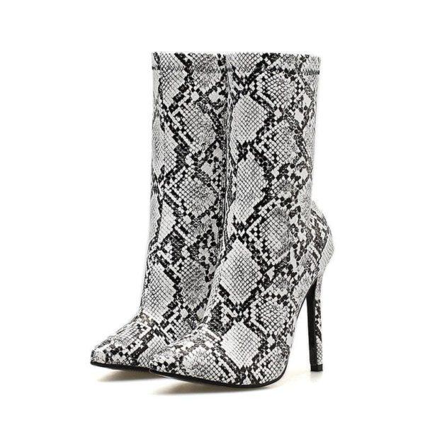 snakeskin heel boots