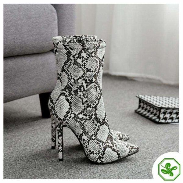 grey snakeskin heel boots