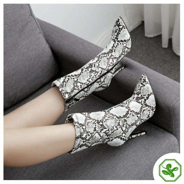 beautiful snakeskin heel boots