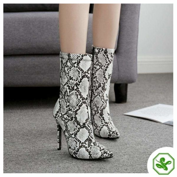 snakeskin heel boots for woman