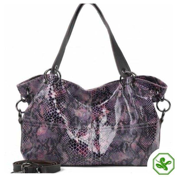 Purple Snakeskin Leather Bag