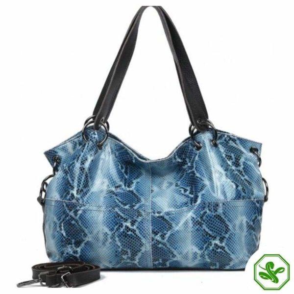 Blue Snakeskin Leather Bag