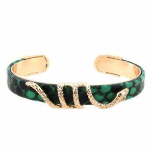 golden green snake bracelet