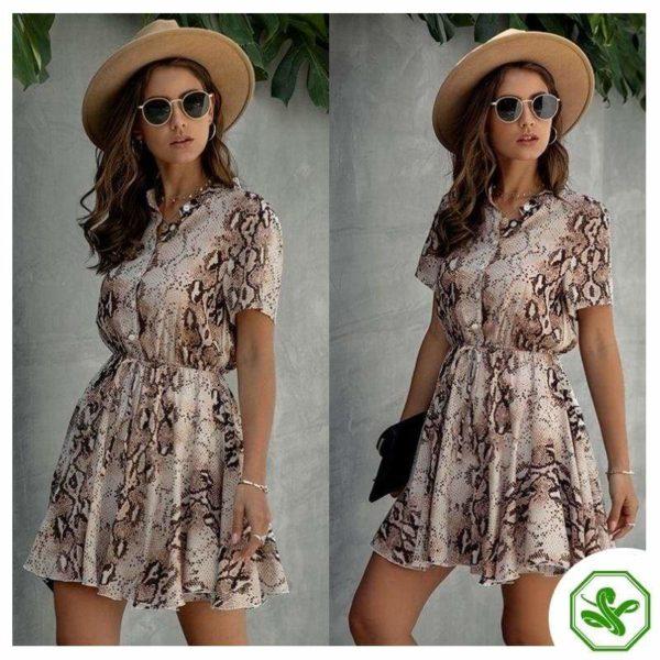 Snakeskin Print Dress  Woman