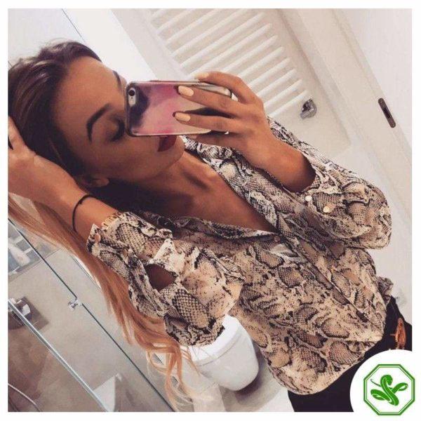 woman snake shirt