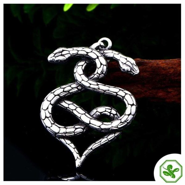 steel snake necklace silver