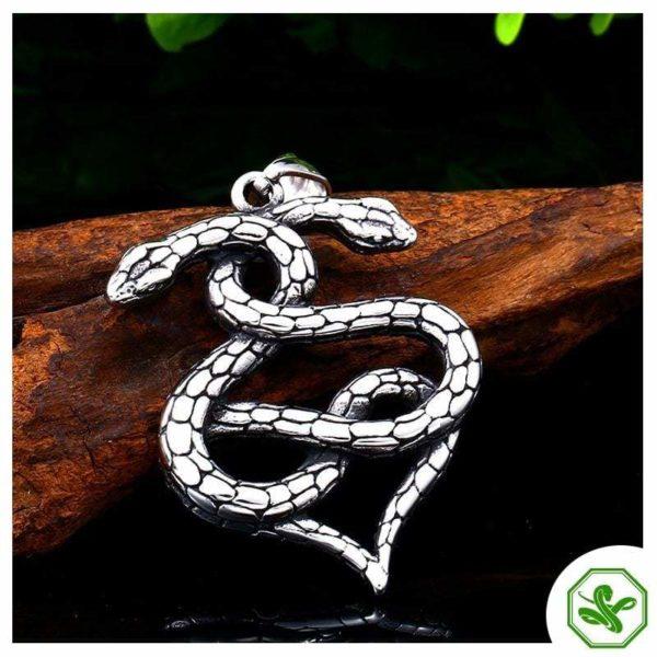 stainless steel snake pendant silver