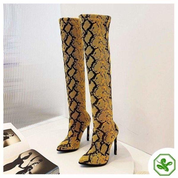 Thigh High Snake Print Boots 3
