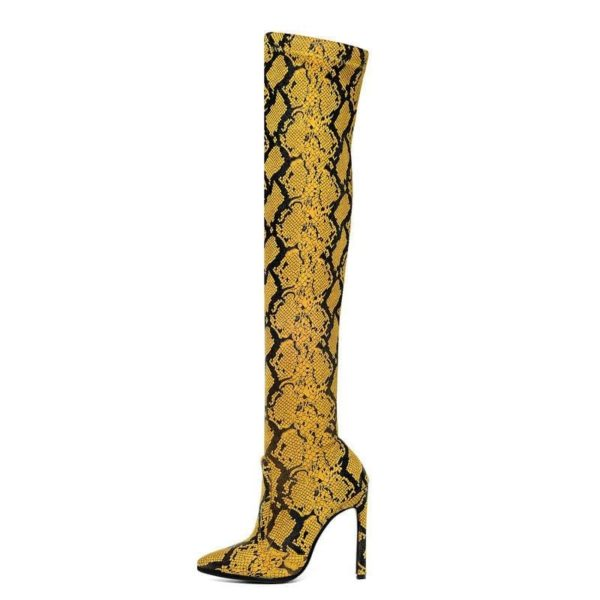 Thigh High Snake Print Boots 1