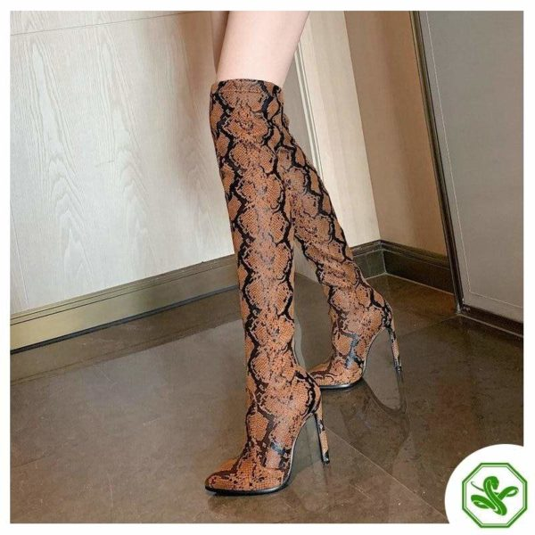 Thigh High Snake Print Boots 7