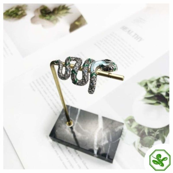 green and blue snake ring