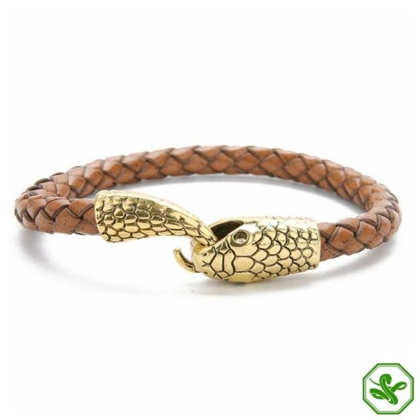 brown and gold leather snake bracelet