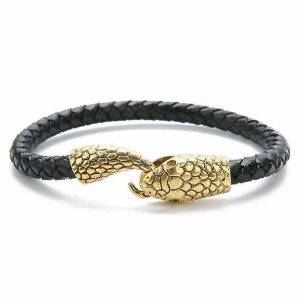 black and gold leather snake bracelet
