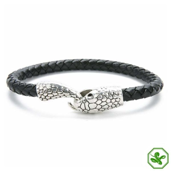 black and silver leather snake bracelet