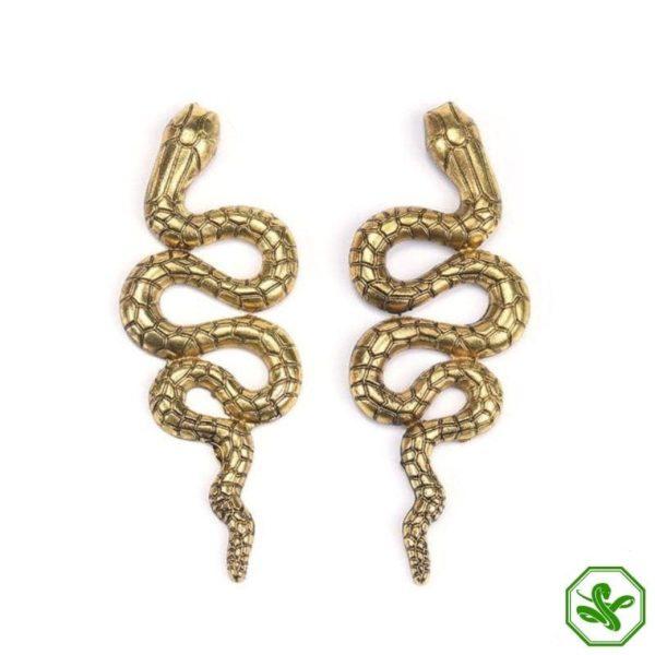 gold snake earrings vintage