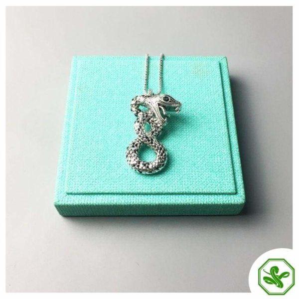 silver snake necklace vintage