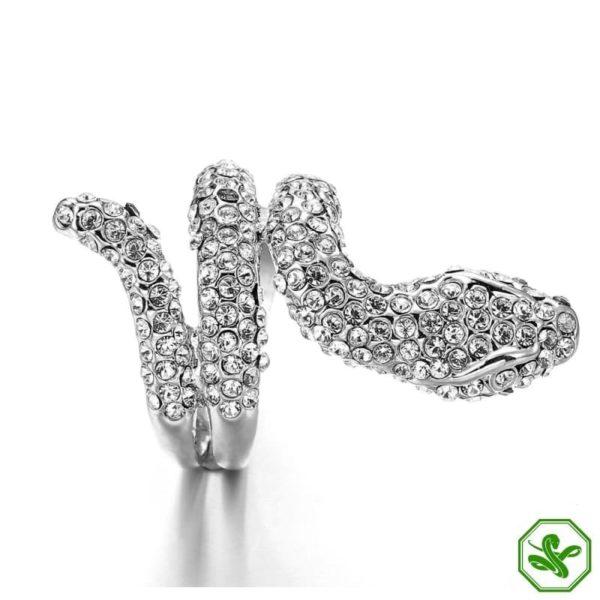 White Gold Diamond Snake Ring 4