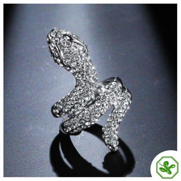 White Gold Diamond Snake Ring 2