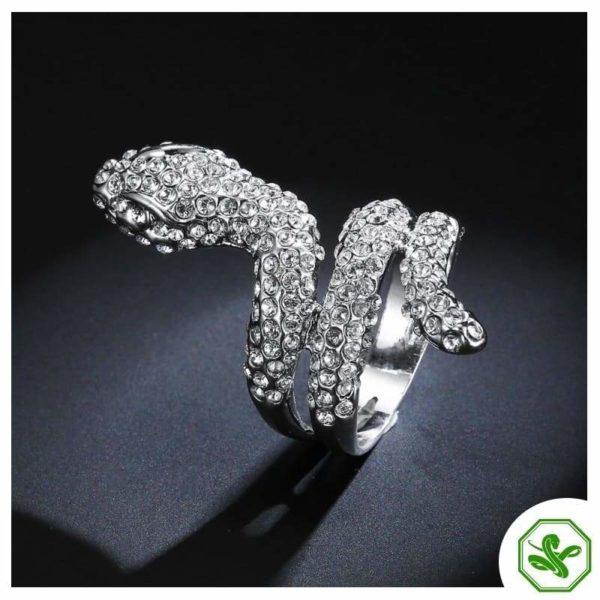White Gold Diamond Snake Ring 3