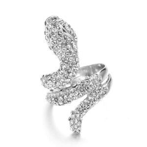 White Gold Diamond Snake Ring 1