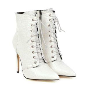 white snake heel boots