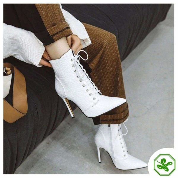 white snake heel boots for woman